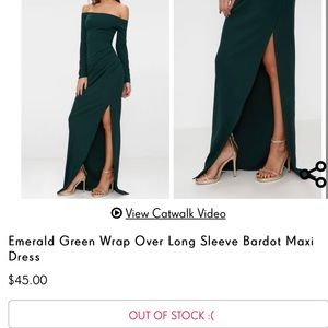 128a066f83a PrettyLittleThing Dresses - Emerald green wrap long formal maxi